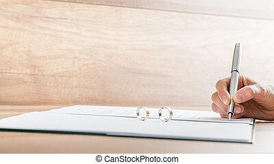 signer, divorce, main, closeup, femme, papiers