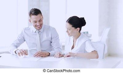 signer, femme, contrat, homme