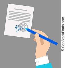 signer, gris, main, stylo, fond, document