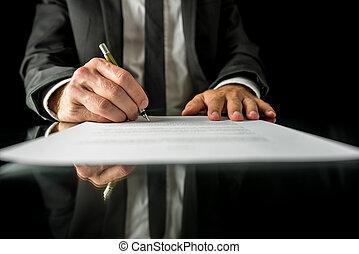 signer, légal, papiers