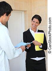 signer, logement, contrat, homme