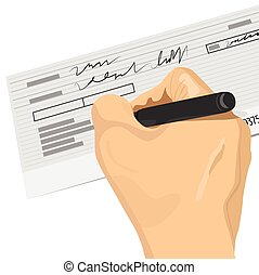 signer, main, stylo, tenue, chèque blanc