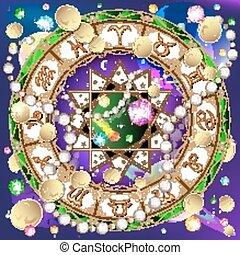 signes, de, les, zodiaque, astrologie