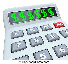 signes dollar, sur, calculatrice, ajouter, coûts, coûteux,...