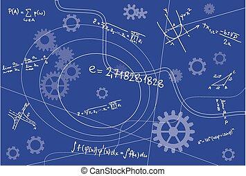 signes, géométrie, fond, mathématique, bleu