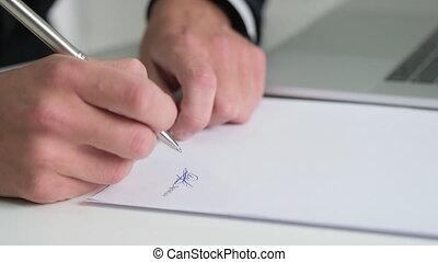 signes, homme, jeune, bureau, contrat, travaux, documents