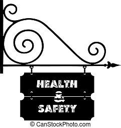 signes rue, sur, bâtiment, santé sécurité
