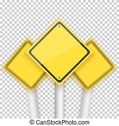 signes, stop, réaliste, vecteur, rouges, v, brouillé, route, behind.