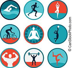 signes, vecteur, fitness, icônes