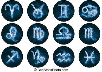 signes zodiaque, buttons., ensemble, de, horoscope,...