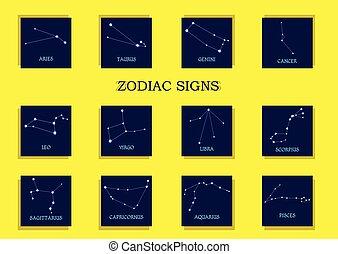 signes, zodiaque, ensemble,  horoscope