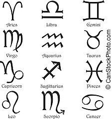 signes zodiaque, sur, a, fond blanc