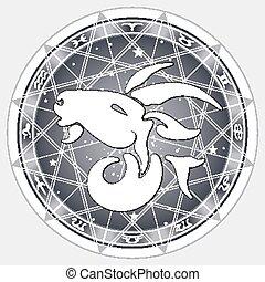 signes zodiaque, vecteur, illustration
