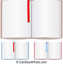 signet, livre, ouvert