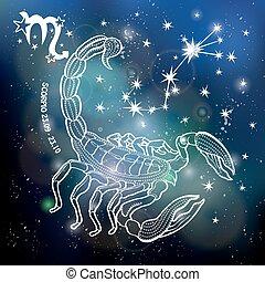 sign.horoscope, scorpione, cielo, scuro, circle.space,...