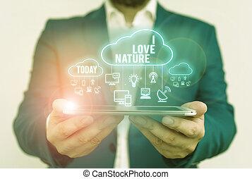significado, natural, amor, ecosystem., meio ambiente, nature., proteja, texto, apreciar, conceito, preservação, letra