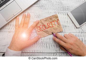 signification, état, sentiment, danger., sûr, gratuite, écriture, écriture, peur, security., ou, texte, concept, écurie