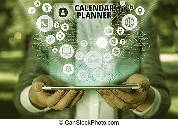 signification, activités, devoir, tâche, être, completed., horaire, texte, ou, calendrier, concept, écriture, planner.