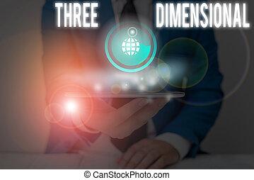 signification, avoir, boîte, trois, profondeur, être, écriture, texte, choses, tourné, space., concept, écriture, dimensional.