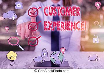 signification, produit, concept, texte, écriture, experience., buyer., client, écriture, interaction, entre, organisation