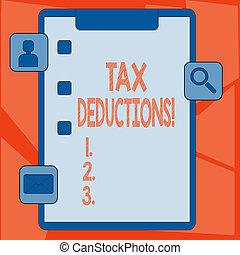 significato, essere, taxed, concetto, valutazione, updates, apps, testo, capace, tassa, deductions., spese, reminder., riduzione, appunti, scatola, reddito, icone, scrittura, zecca, 3