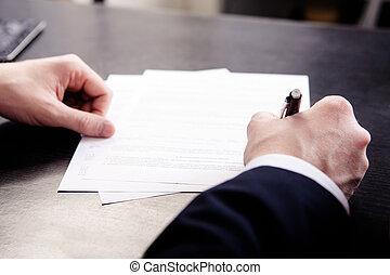 signing, бизнес, мелкий, -, фокус, контракт, подпись, человек
