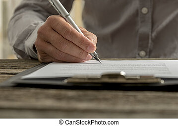 signing, мужской, бизнес, контракт, рука, крупным планом, документ, или