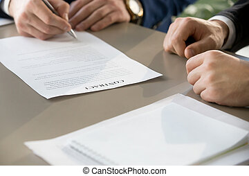 signing, фокус, контракт, встреча, clos, бизнесмен, документ