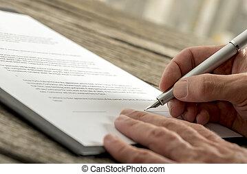 signing, форма, контракт, рука, заявление, крупным планом, мужской, или