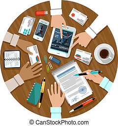 Signing a contract. Business meeting. Cooperation. Vector illustration