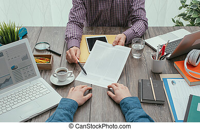 Signing a contract - Business meeting in the office, a ...