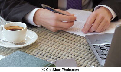 Signing a contract during a business lunch
