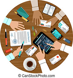 Image of the signing of the contract for a business meeting. Vector illustration