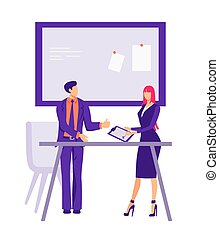 Signing a contract in the office illustration. Male and female characters businessmen conclude cooperation agreement corporate meeting with further flat friendly vector communication.