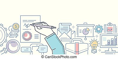 Signing a contract - modern line design style illustration on white background. Colorful composition with a document, hand with a pen drawing a signature, lightbulb, bag, pile of coins, diagrams, chat
