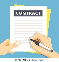 Signing a contract flat illustration. Hand with pen sign contract. Modern flat design concepts for web banners, websites, printed materials, infographics. Creative vector illustration