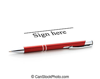 Signing contract. Pen isolated over white.