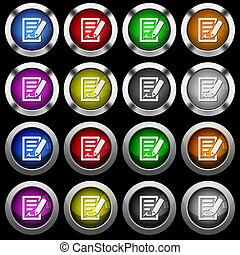 Signing contract white icons in round glossy buttons on black background