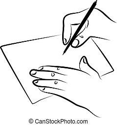 signing document - line drawing of hands signing a document ...