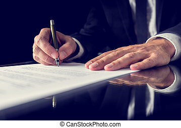 Signing legal document - Retro image of lawyer signing ...