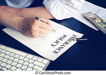 signing, policy., вверх, человек, страхование