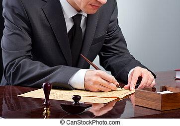 Signing testament - Businessman notarize testament at notary...