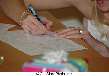 Signing the wedding contract