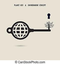 sign.natural, glob, arbre, mort, environnement, symbole, clã©, concept., désastres