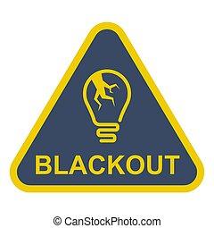signo., agrietado, triangular, luz, bulb., apagón