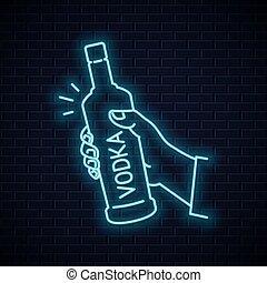 signo., asimiento, vidrio, mano, vodka, botella, neón