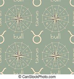 signo astrología, bull., seamless, patrón