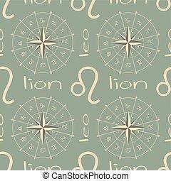 signo astrología, seamless, lion., patrón