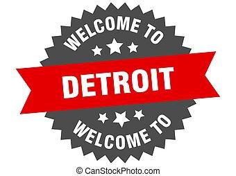 signo., bienvenida, rojo, pegatina, detroit