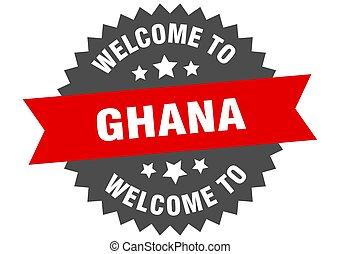 signo., bienvenida, rojo, pegatina, ghana